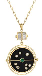 reversible 14k yellow gold grandfather compass pendant in onyx and mother of pearl with diamonds emerald and sapphire 11 040 mixed tourmaline and