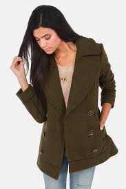 gentle fawn brit olive green pea coat