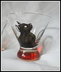 black cat stemless martini glass 14 99