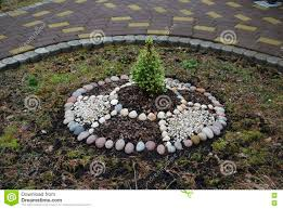Decorative Stones For Flower Beds Decorative Ring Flower Bed In The Garden Stock Photo Image