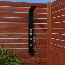 exterior shower fixtures. denton two-jet outdoor shower panel with hand exterior fixtures