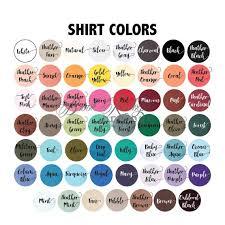 Bella T Shirts Color Chart Bella Canvas 3001c Shirt Color Chart Instant Download