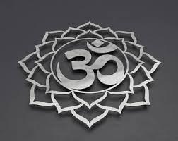 om sign metal wall art sculpture om lotus flower mandala metal wall art chakra wall decor yoga wall art silver wall art brushed metal on om symbol wall art with om wall decor etsy