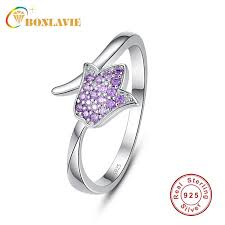 whole romantic bluebell flower ring jewelry 925 sterling silver purple crystal women rings 2018 trendy fine jewelry 6 7 8 9 wedding rings promise rings