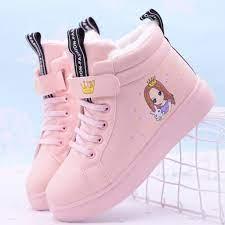 Giày thể thao chất liệu cotton phối nhung thời trang mùa đông dành cho bé  gái từ 8-12 tuổi