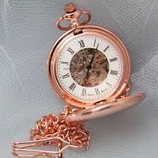 watches notonthehighstreet com personalised skeleton pocket watch rose gold