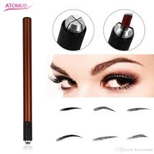 semi permanent manual embroidered pen for eyebrow line cross play mist microblading tattoo pen spotted single head snless steel manual permanent makeup