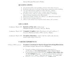 Graphic Design Resume Objective Examples Interior Design Resume ...