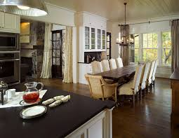 dining table that seats 10: farmhouse table dining room traditional with curtains built ins