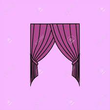 Klassische Vorhänge Sketch Fensterdekorationen In Den Vektor Gemalt