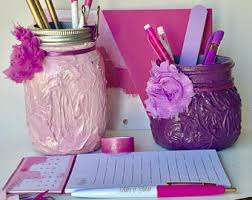 purple office decor. Purple Desk Accessories For Women, Painted Mason Jars, Decor,womens Office Supplies Decor .