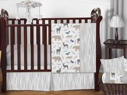 unique gray forest animal deer bear neutral perless baby boy bedding crib set
