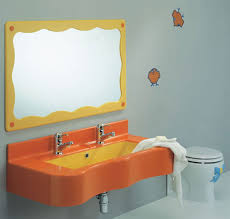 Kids Bathroom Orange Sink Idea With Yellow Framed Mirror And Wallstickers For