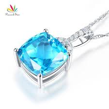 2019 peacock star 14k white gold 4 ct cushion swiss blue topaz pendant necklace 0 1 ct diamond from tuosu 527 54 dhgate com