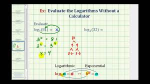 ex 1 evaluate logarithms without a calculator whole numbers