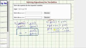 literal equations solve u gx c y h for two variables