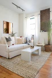 living room furniture contemporary design. Superb Design Of The Living Room Furniture Layout With White Fabric Sofa Added Brown Rug Contemporary E