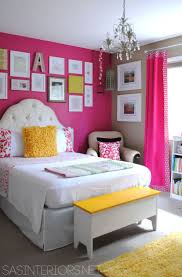 Hot pink & yellow big girl bedroom reveal Gujnsdttir Fairytale Ward I  like pink and yellow together for Karis and the bed style Like the design.
