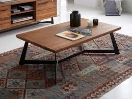 industrial style teva solid oak coffee table with black metal legs