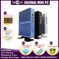 Eglobal Giá Rẻ Quạt Không Cánh Mini PC Windows 10 Pro Intel I5 7200U I3  7167U I7 4500U DDR4/DDR3 Barebone Máy Tính 4K HTPC Wifi HDMI VGA barebone  computer