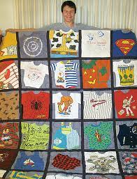 a memory quilt from baby clothes