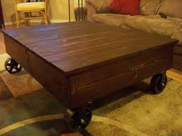 ... Coffee Table, Charming Brown Rectangle Antique Wood Cart Coffee Table  On Wheels Design Ideas As