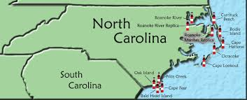 north carolina lighthouse map A Map Of North Carolina click on a lighthouse name or icon for more information on that lighthouse a map of north carolina cities