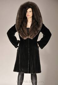 black letout mink fur coat parka with russian sable huge hood