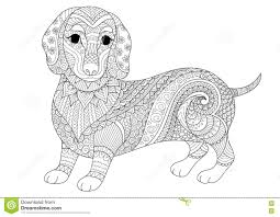 Zendoodle Design Of Dachshund Puppy For Adult Coloring Book And T