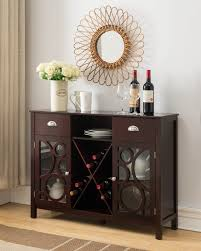 wine rack console table. Dark Cherry Wood Wine Rack Sideboard Buffet Display Console Table With Storage Drawers, Glass Cabinet N
