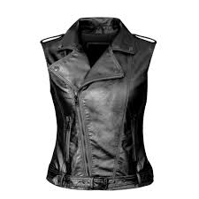 daxvens womens motorcycle biker faux leather vest slant zip with pockets at women s coats