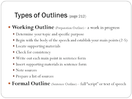 Template For A Speech Types Of Outlines Page How To Outline A Speech Presentation
