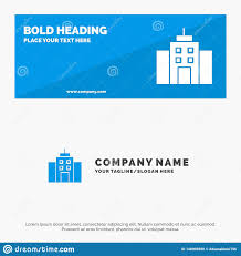 Office Banner Template Building User Office Interface Solid Icon Website Banner