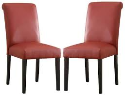 set of 2 ledbury red faux leather dining parsons chair with black tapered legs