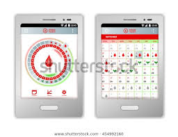 Period Tracker Tablet Mobile Phone Application Stock Vector