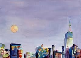 empire state building painting full moon and empire state building watercolor painting of nyc by