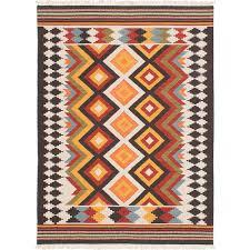 ecarpet gallery mamaris cream orange wool kilim 4 ft x 6 ft area