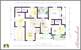 3 bed room house plan with room dimensions