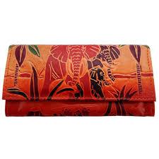 indian elephant leather shantiniketan wallet clutch bag women purse handcrafted