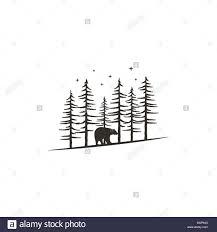Vintage Hand Drawn Forest Concept With Bear Black Monochrome Design