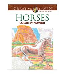 coloring book creative haven horses color by number