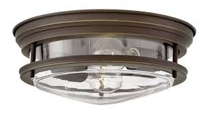hinkley lighting 3302oz cl hadley 2 light foyer flush mount in oil rubbed bronze with clear glass