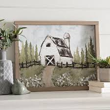 barn in cotton field framed art print