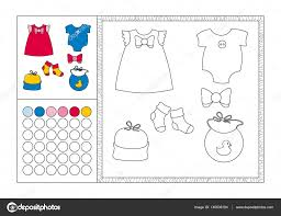 coloring book page with colored template decorative frame and color swatch vector black