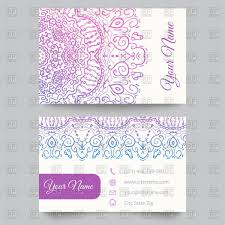 Business Card Template With Mehndi Style Ornament Vector Image Of