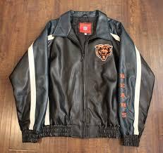 chicago bears leather jacket coat nfl football sz xl throwback