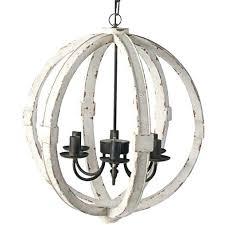 distressed white wood chandelier farmhouse 5 light french shabby elegant