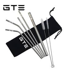 gte 7pcs 304 stainless steel straw eco friendly reusable metal straw drinking straws set with bag