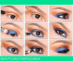 orange and blue cheer eyeshadow how to blue and orange makeup tutorial olga