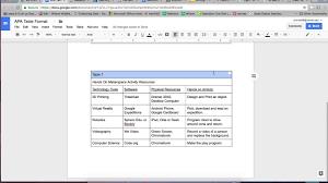 Google Docs Apa Table Formating